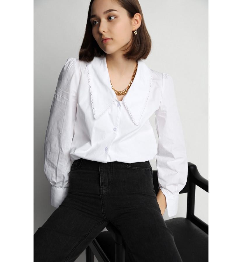 Рубашка с акцентным воротников, хлопковая на пуговицах