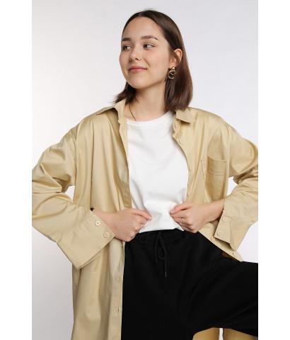 Рубашка удлиненная на пуговицах из плотного материала