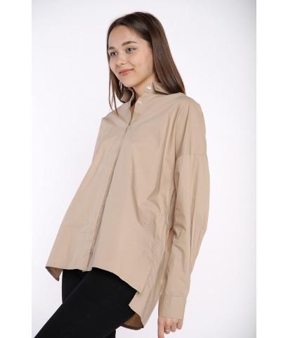 Рубашка оверсайз, с разрезами и накладным карманом