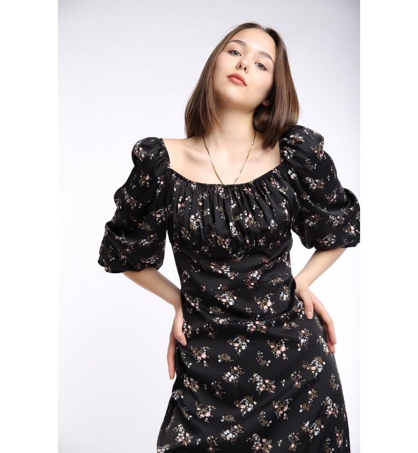 Платье с разрезом в принт мелкий цветочек