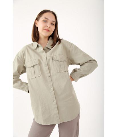 Рубашка из плотного хлопка с накладными карманами