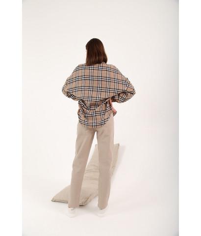 Рубашка oversize в клетку на пуговицах