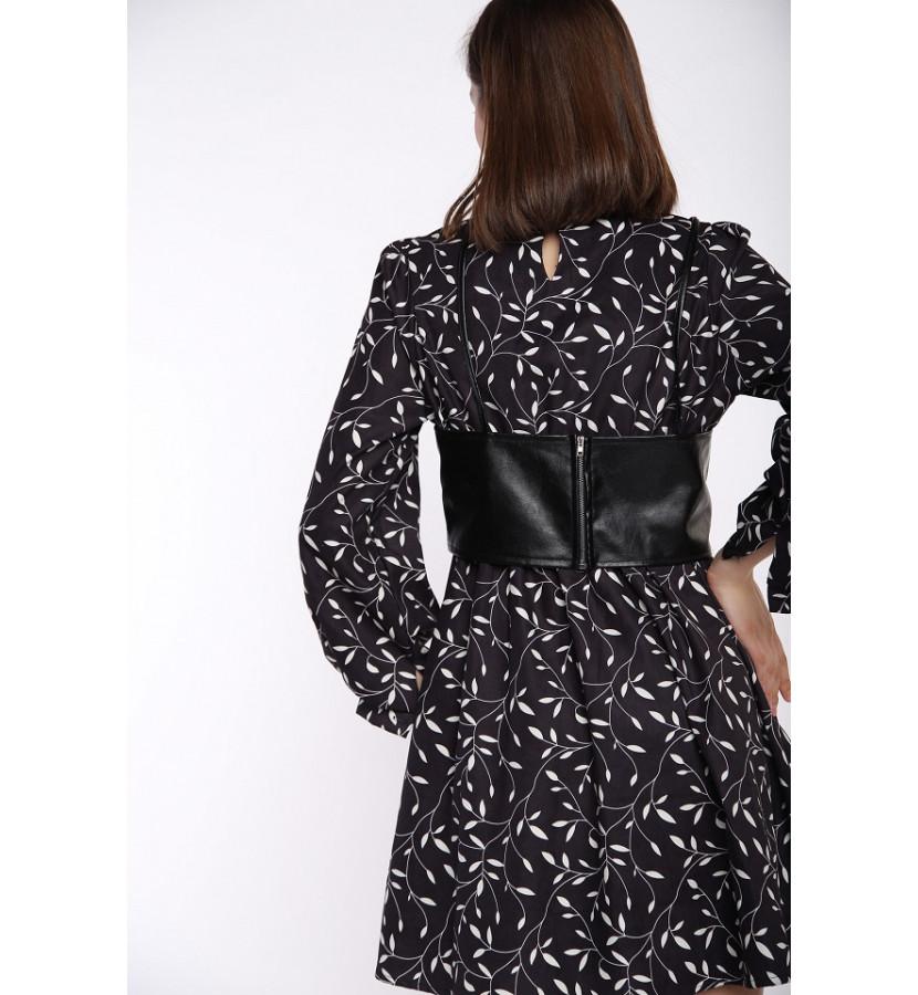 Платье с принтом и топом из эко кожи