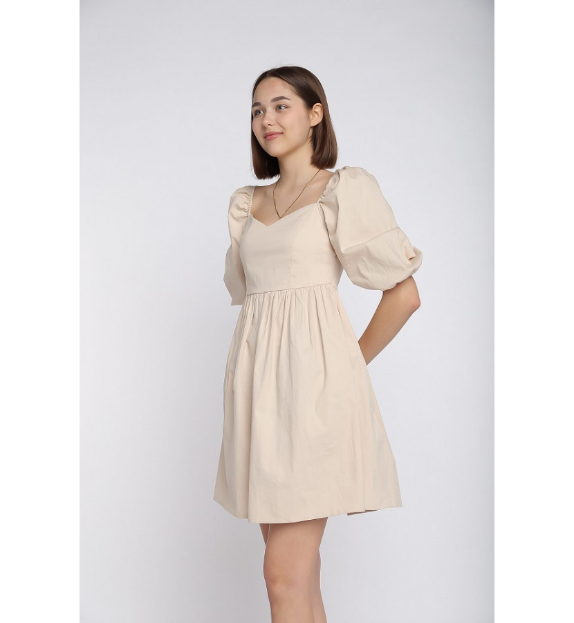 Платье мини, юбка солнце, рукава на резинке