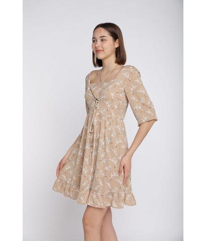 Платье на шнуровке, принт в мелкий цветочек