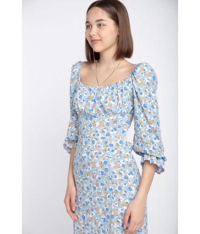 Платье миди с разрезом в мелкий цветочек