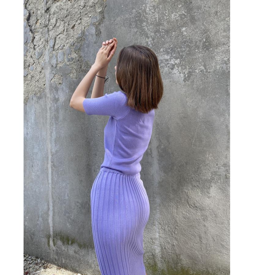 Трикотажный костюм в рубчик курпный, топ и юбка