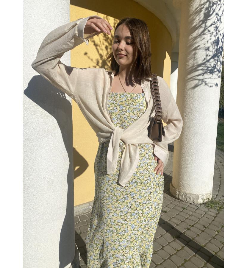 Платье - комбинация в цветочек и льняная рубашка в комплекте