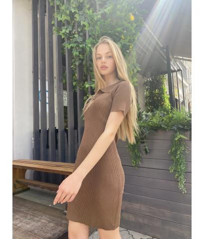 Платье поло в крупный рубчик