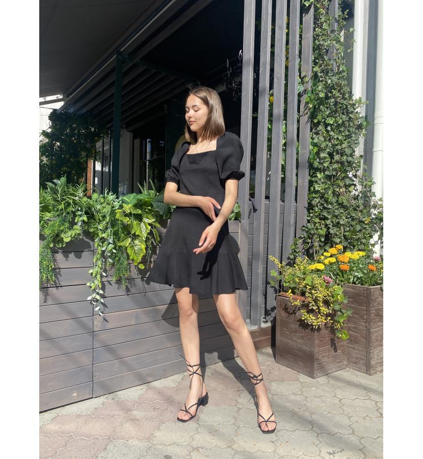 Платье мини, рукава фонарики на резинке