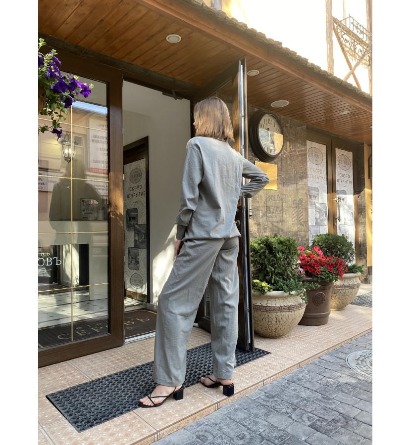 Костюм из льна, рубашка удлиненный на пуговицах брюки прямого кроя