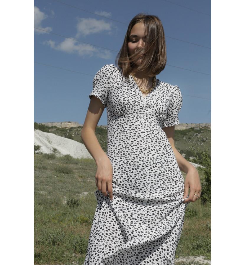 Платье миди в мелкий цветочек с разрезом