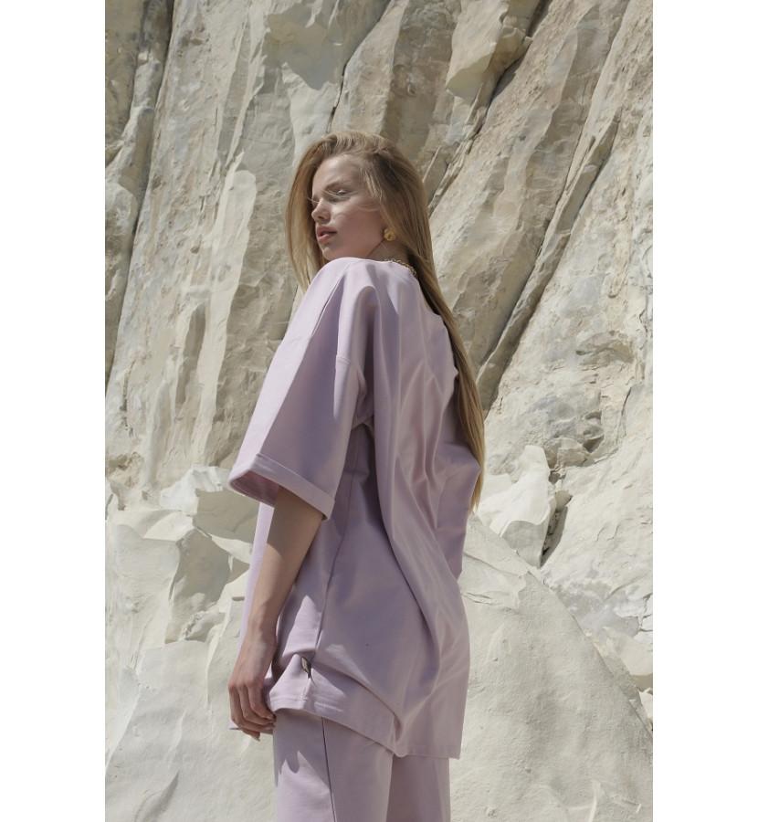 Костюм из хлопка, шорты бермуды и футболка удлиненная свободного кроя