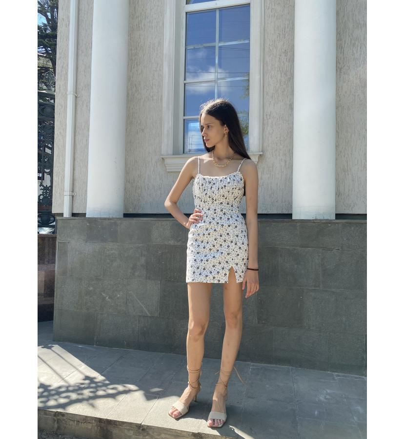 Платье хлопковое в мелкий принт с разрезом