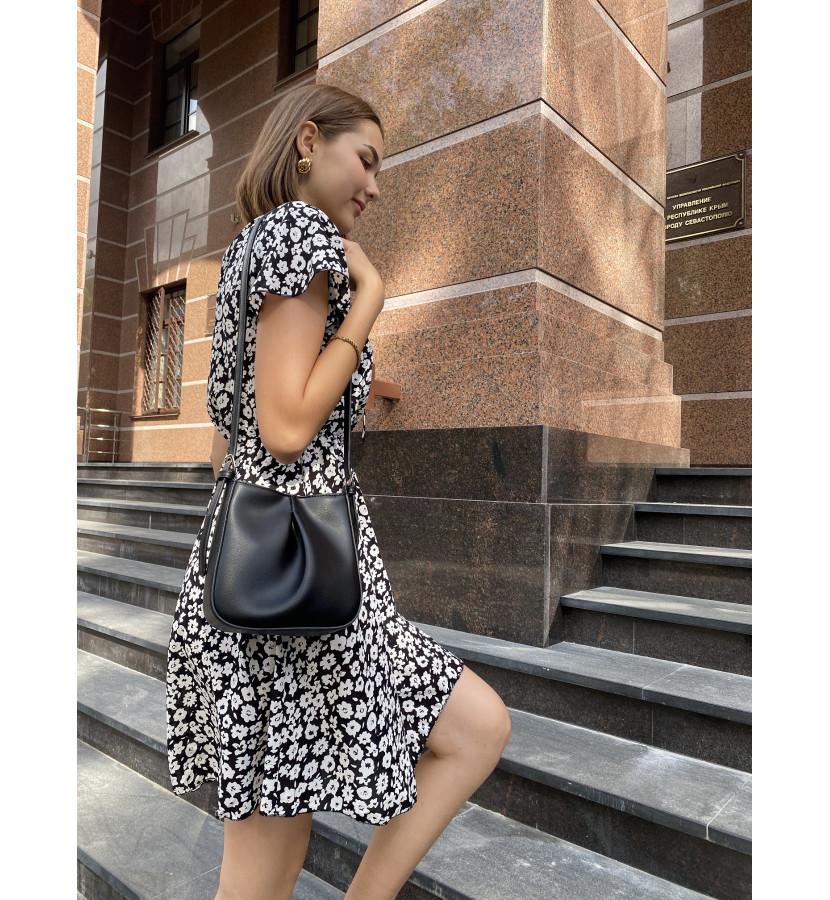 Платье мини в принт на резинке