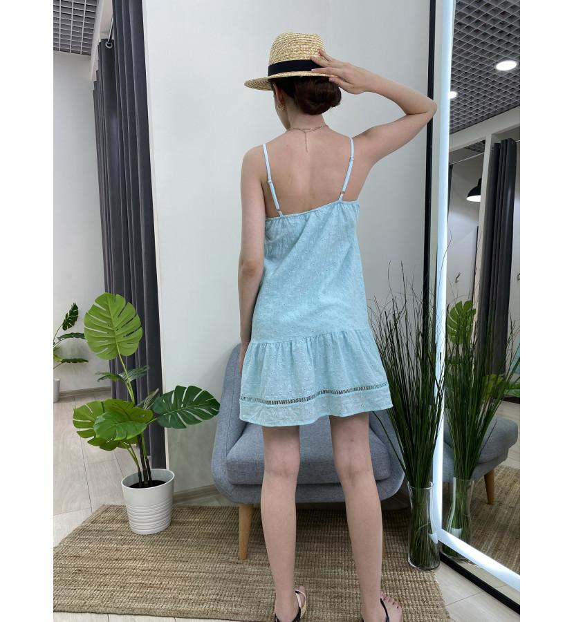 Платье на лямках снизу волан