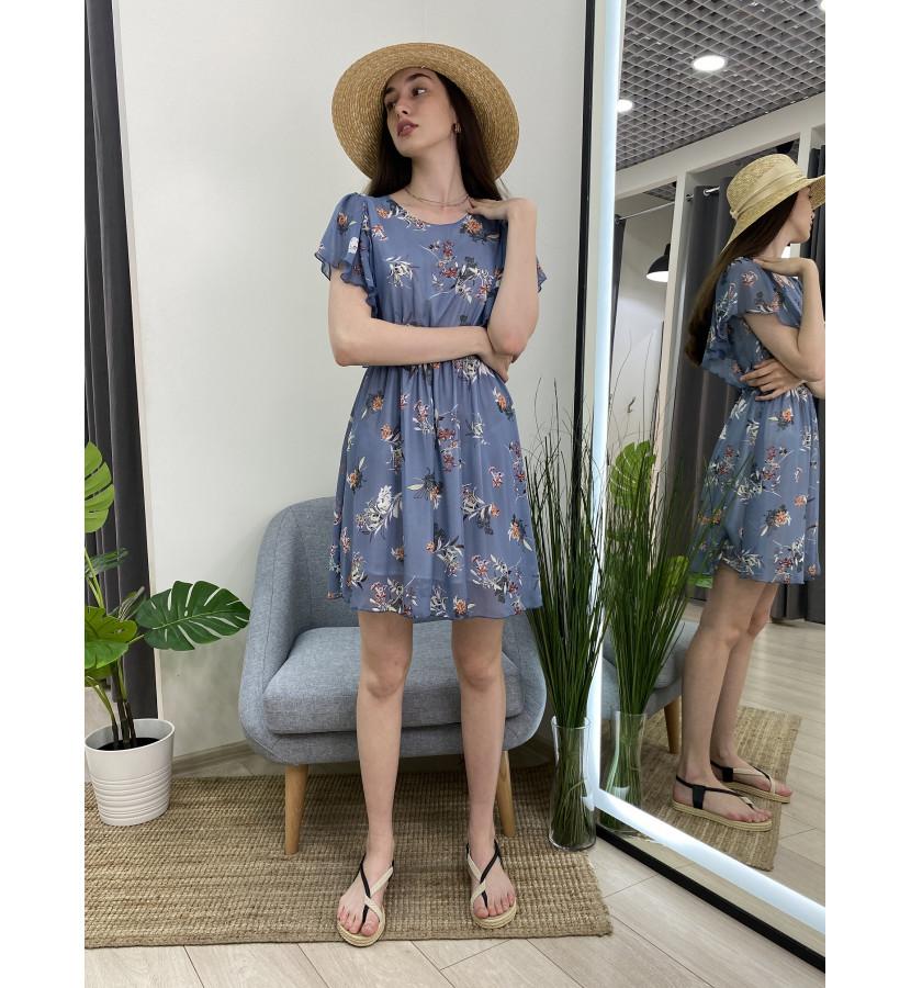 Платье с рющами в цветочный принт
