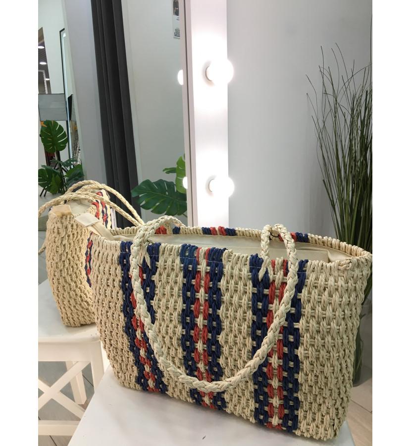 плетеная сумка с узором