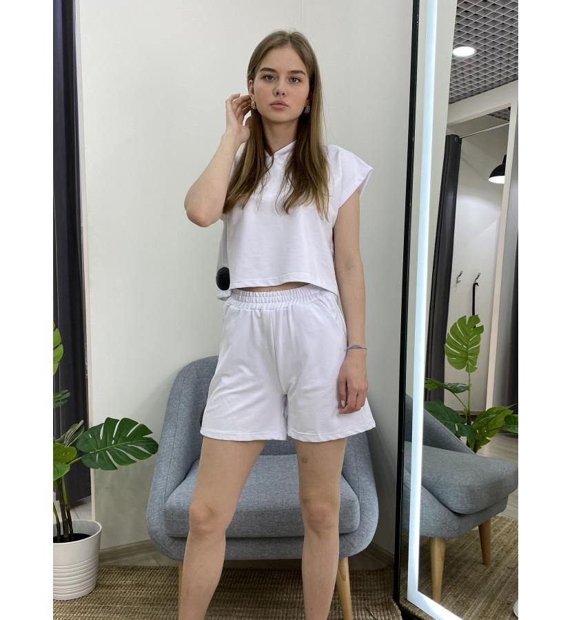 Костюм шорты + укороченый худи с коротким рукавом
