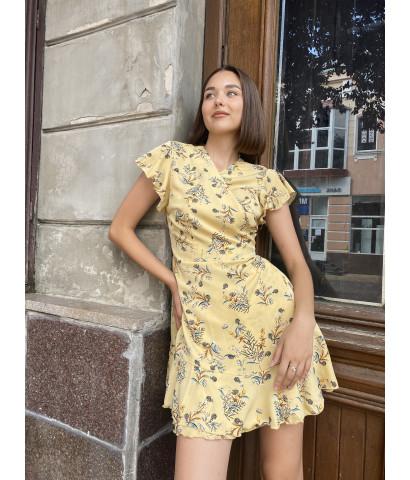 Платье - мини на запах в принт цветочек с рукавами волан