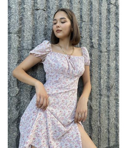 Платье мини в мелкий цветочек