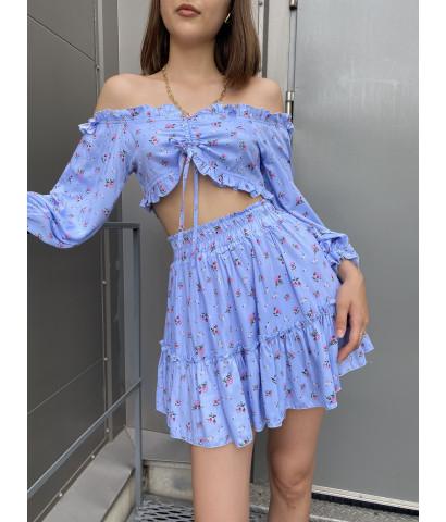 Костюм юбка и топ в мелкий цветочек