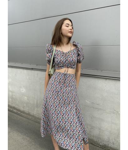 Костюм юбка - миди и топ в мелкий цветочек