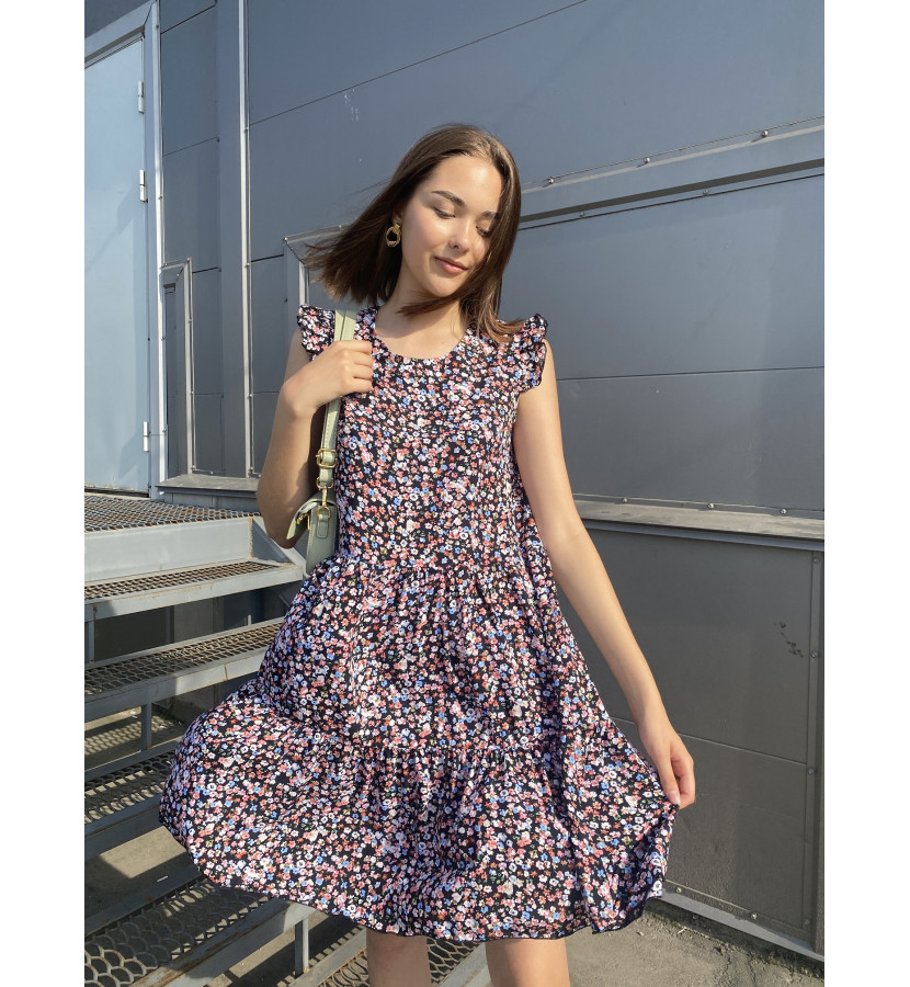 Платье мини свободного кроя с открытыми рукавами