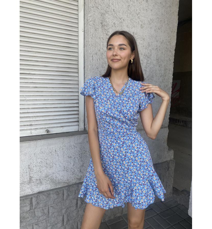 Платье мини на запах с цветочным принтом