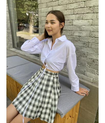 Укороченная рубашка с завязками на пуговицах