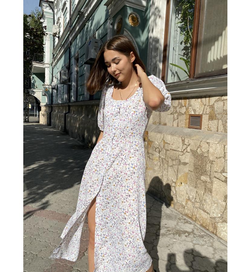 Платье миди в принт цветочек на пуговицах и квадратным вырезом