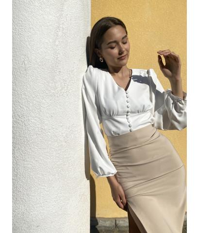 Блуза с рукавами волан на пуговицах