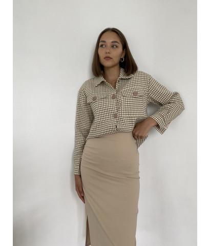Укороченная рубашка, из плотного материала на пуговицах