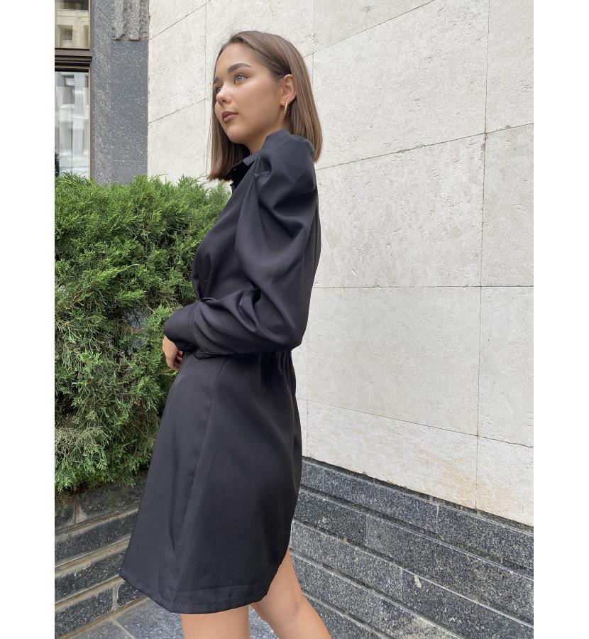 Платье рубашка на пуговицах с рукавами волан