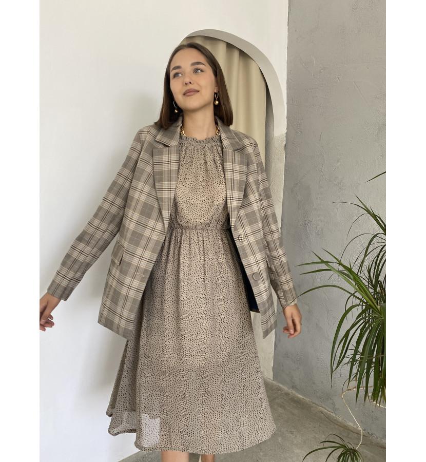 Платье шифоновое в мелкий принт, на талии резинка