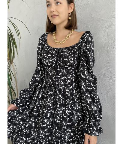 Платье мини в мелкий принт