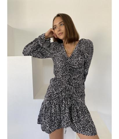 Платье с анималистичным принтом и драпировкой