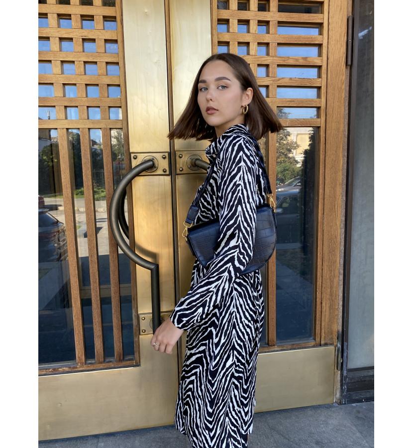 Платье миди в принт зебра на пуговицах