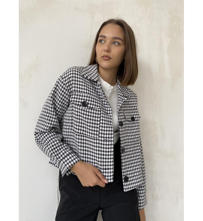 Укороченная куртка в принт гусинную лапку