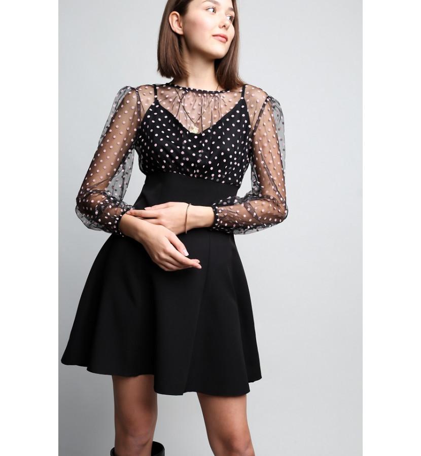 Платье мини, юбка солнце, верх в горошек