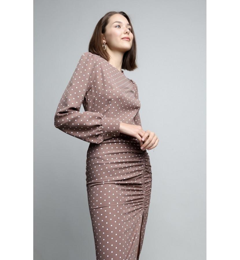 Платье миди в горошек, юбка со сборкой