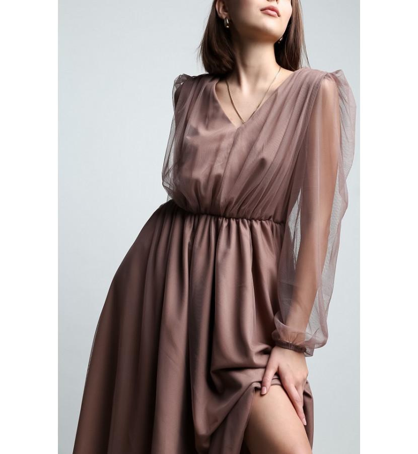 Платье длина ниже колена с подкладом и верхней частью из сетки