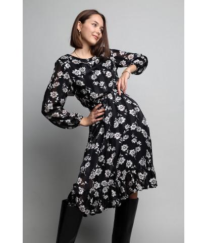 """Платье ниже колена, в принт """"Цветочек"""", на талии резинка"""