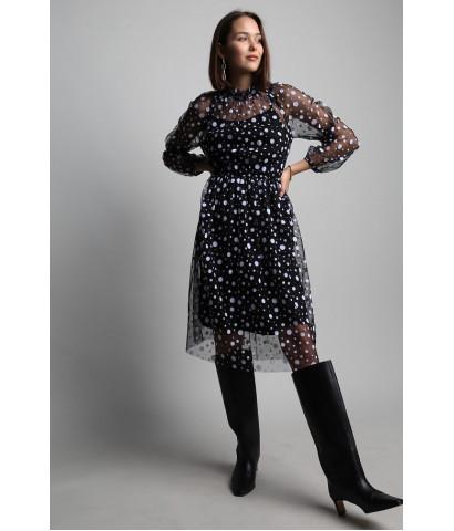 Платье миди, подклад комбинация, верх сетка в принт горошек