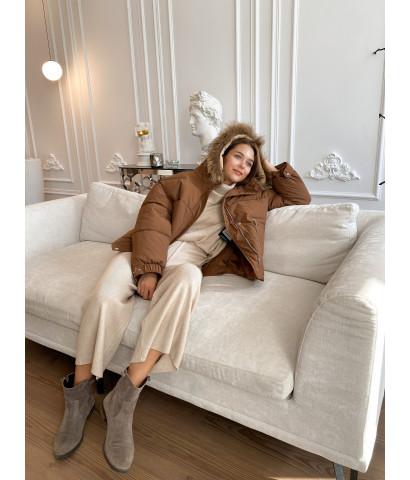 Куртка - парка укороченная с мехом, накладными карманами