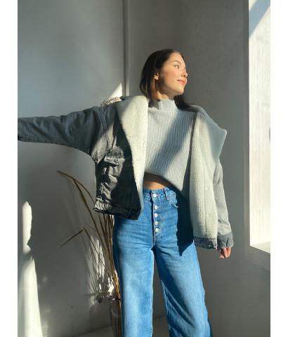 Куртка джинсовая с подкладом из овчины, оверсайз крой
