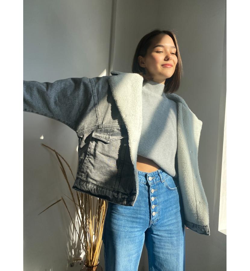 Куртка джинсовая с подкладом из овчины, oversize