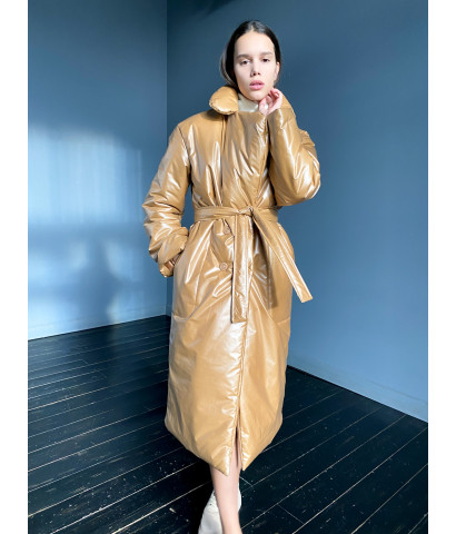 Куртка - одеяло, длина миди на пуговицах и поясе