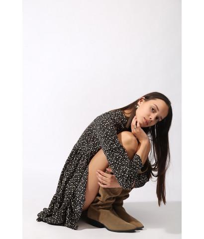 Платье мини в цветочный принт, совбодного кроя