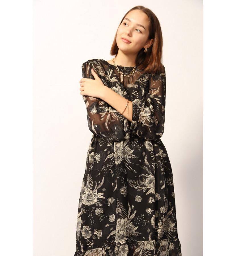 Платье миди с принтом в крупный цветок, и комбинацией